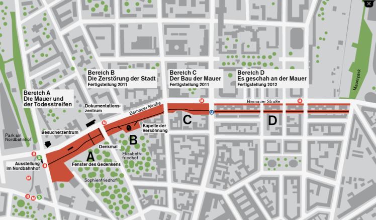 mapa do memorial do muro de berlim
